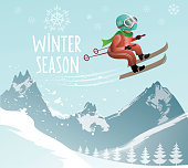 vector background of winter landscape with ski jumper and text , contains transparencies