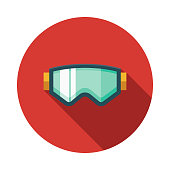 Ski Goggles Flat Design Switzerland Icon