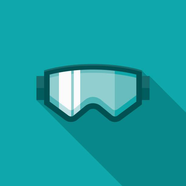 skibrille flache winter designikone mit seite schatten - schutzbrille stock-grafiken, -clipart, -cartoons und -symbole