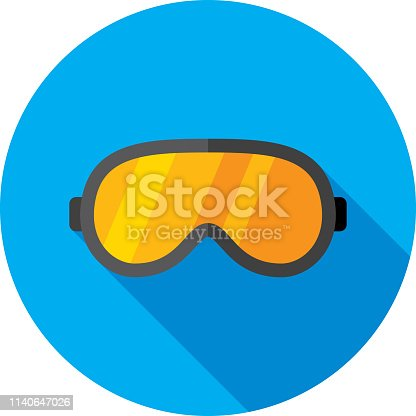 Vector illustration of a pair of ski goggles against a blue background in flat style.