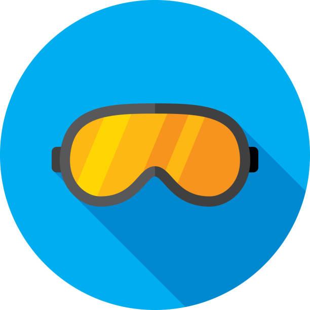 ski-brille icon flat - schutzbrille stock-grafiken, -clipart, -cartoons und -symbole