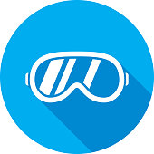 Vector illustration of a blue ski goggles icon in flat style.