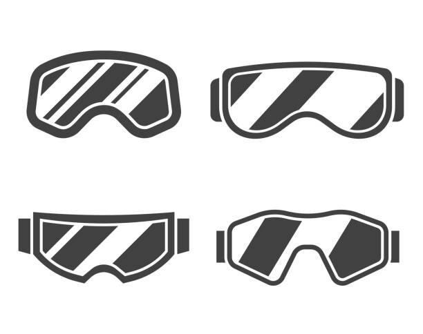 ski goggles-gliederung-icon-set - schutzbrille stock-grafiken, -clipart, -cartoons und -symbole