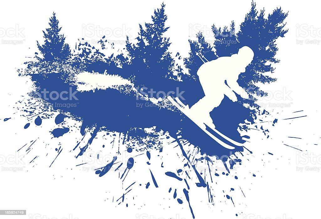 Ski grunge vector art illustration