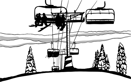 Ski Hill Chairlift Mountain Top Ink