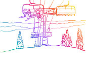 Downhill skiing chairlift, showing the top of the mountain with skiers in the chairs coming up among the pine trees. Vector illustration