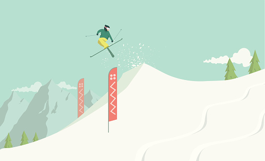 A hand drawn illustration of a freestyle skier taking a jump in a snow park. Each element on the illustration is on a separate layer and can be easily edited. This is a vector illustration with CMYK color space.
