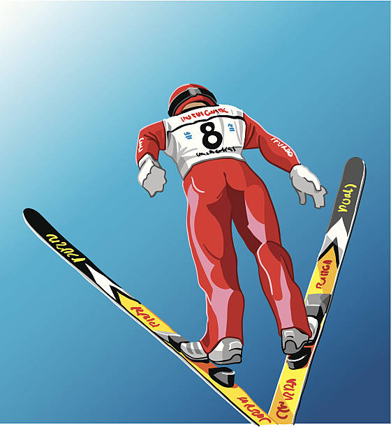 Ski Jumper in the air Vector Illustration of a ski jumper flying through the air. The background is on a separate layer, so you can use the illustration on your own background. The colors in the .eps and .ai-files are ready for print (CMYK). Included files: EPS (v8), AI (CS2) and Hi-Res JPG. winter sport stock illustrations