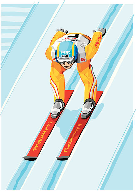 """Ski Jumper """"Vector Illustration of a ski jumper at an inrun track of a ski jump. The background is on a separate layer, so you can use the illustration on your own background. The colors in the .eps and .ai-files are ready for print (CMYK). Included files: EPS (v8), AI (CS2) and Hi-Res JPG."""" winter sport stock illustrations"""