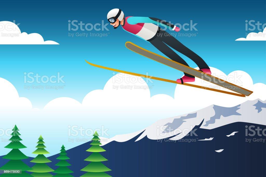 Ski Jumping Athlete in Competition Illustration vector art illustration