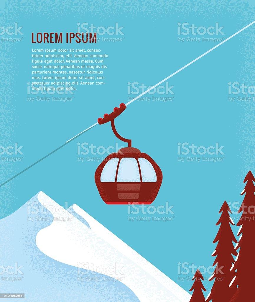 Ski Lift Gondola Snow Mountains vector art illustration