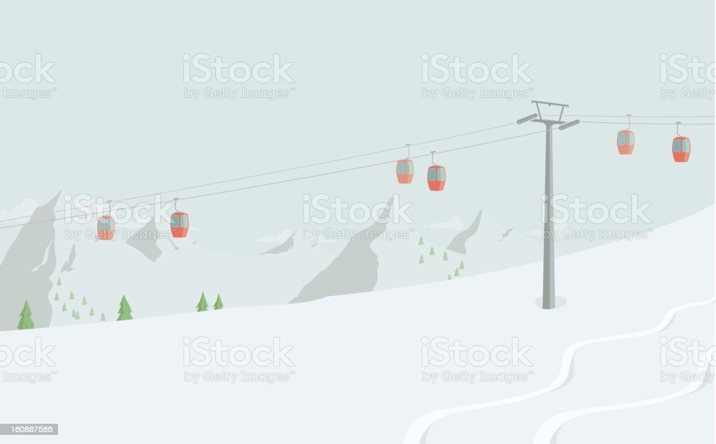 Ski Lift royalty-free stock vector art