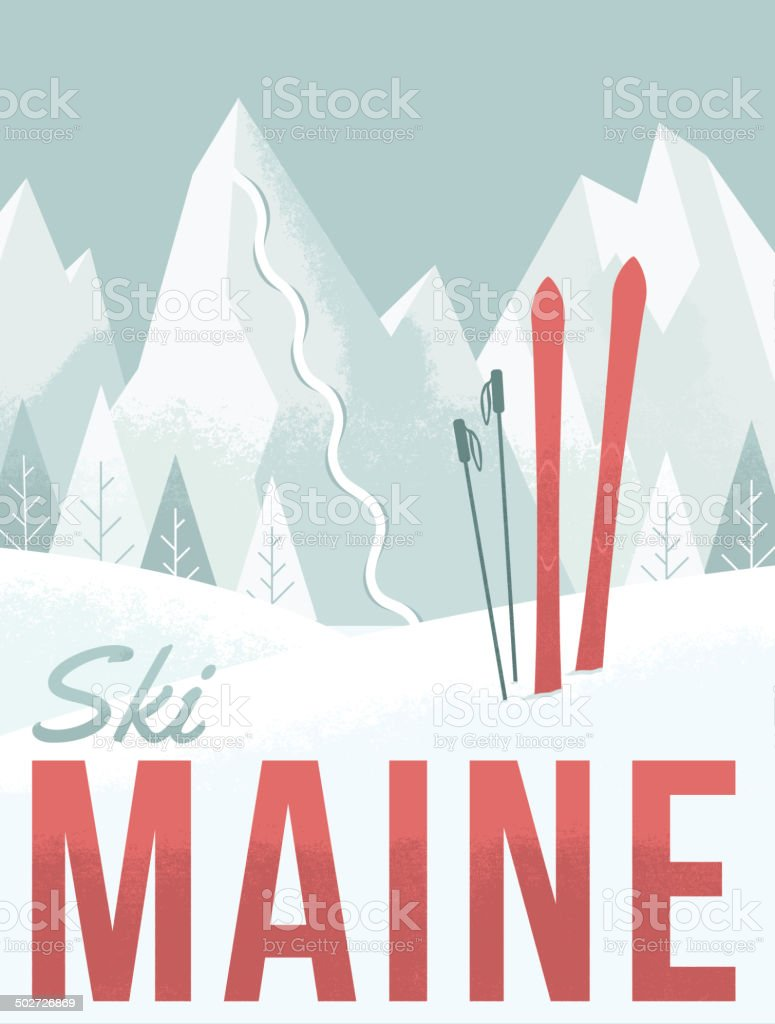 Ski Maine vector art illustration