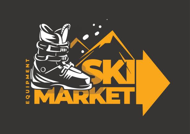 illustrazioni stock, clip art, cartoni animati e icone di tendenza di emblema del mercato sciistico - negozio sci