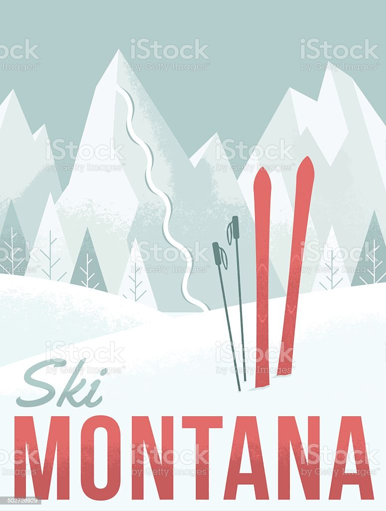 Ski Montana vector art illustration