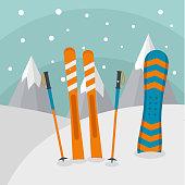 Ski mountains background. Flat illustration of ski mountains vector background for web design