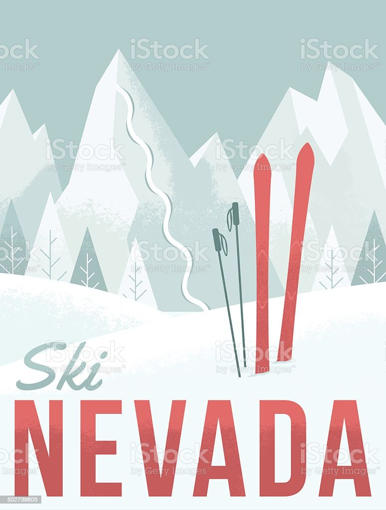 Ski Nevada vector art illustration