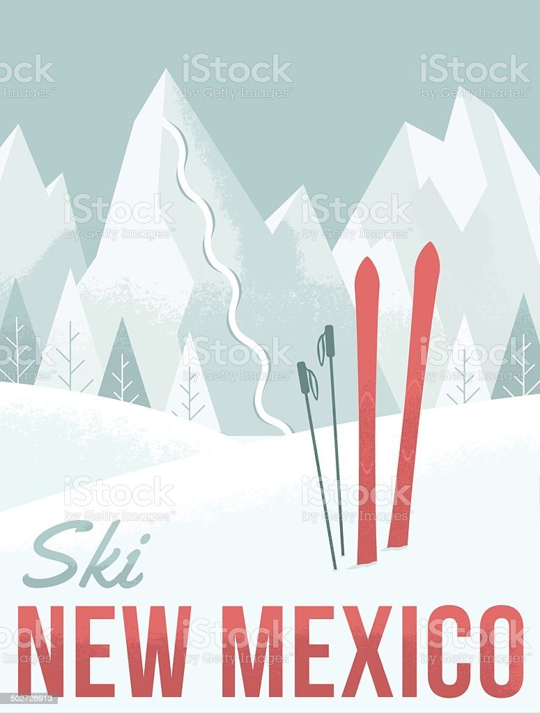Ski New Mexico vector art illustration