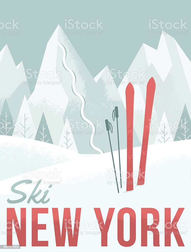 Ski New York vector art illustration