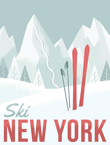 Ski New York A retro-style illustration inspired by vintage ski posters. catskill mountains stock illustrations
