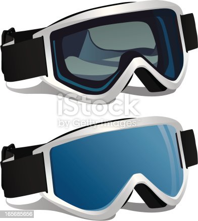 Vector illustration of ski or snowboard goggles. One has a clear lens. The other has an opaque lens.
