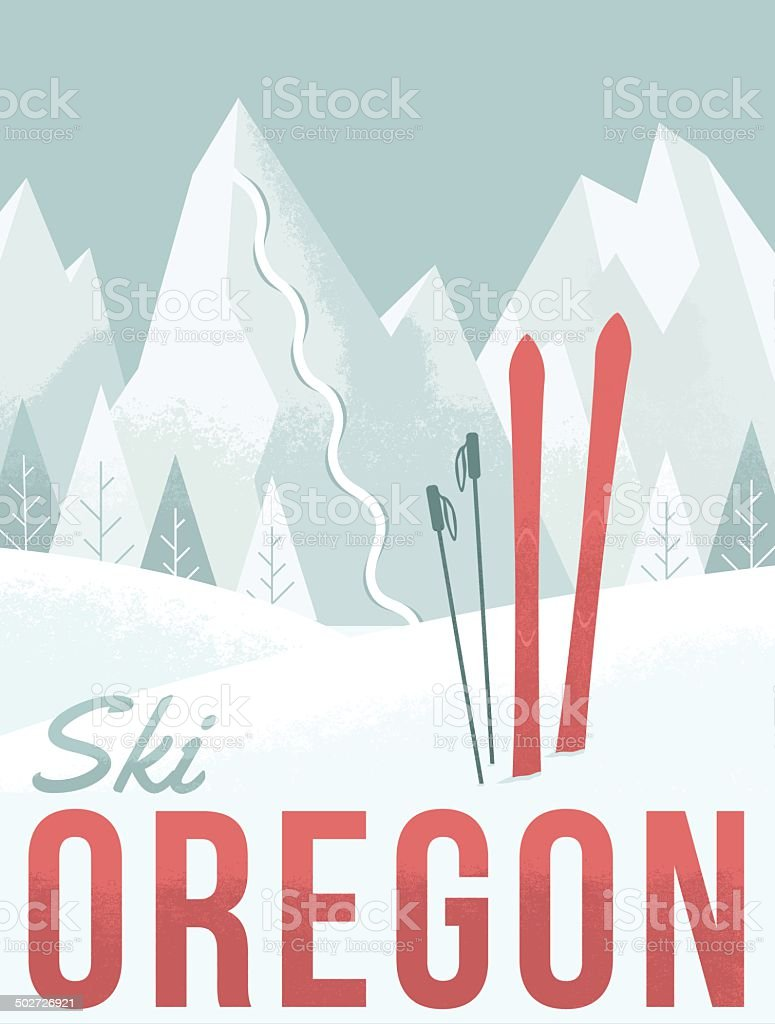 Ski Oregon vector art illustration