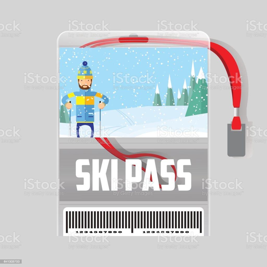 Skipassvorlage Mit Barcode Im Kunststoffhalter Mit Rotem Band Mann ...
