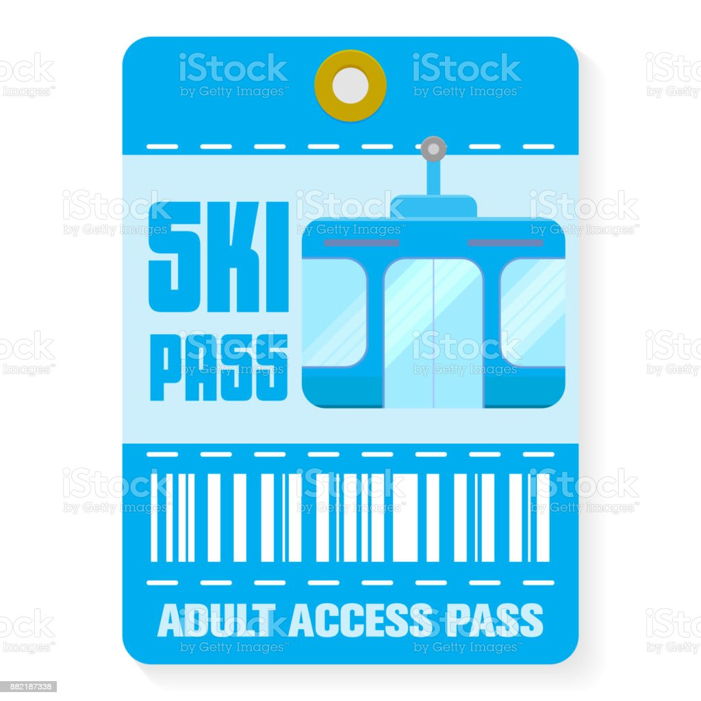 Ski pass template with shadow , flat style vector art illustration
