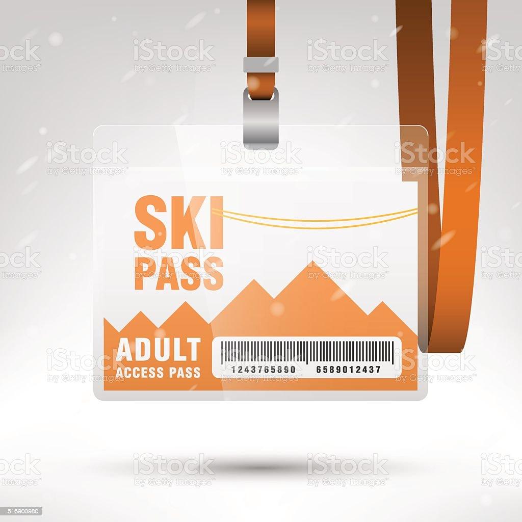 Ski pass vector illustration vector art illustration