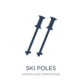 ski poles icon vector on white background, ski poles trendy filled icons from Sports and competition collection, ski poles vector illustration