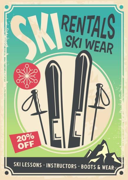 ski verleih retro-promo poster - skifahren stock-grafiken, -clipart, -cartoons und -symbole