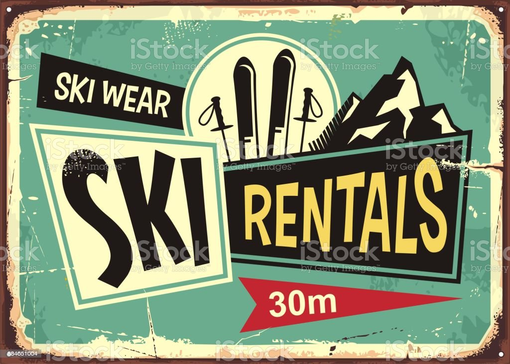 Ski rentals retro tin sign design vector art illustration