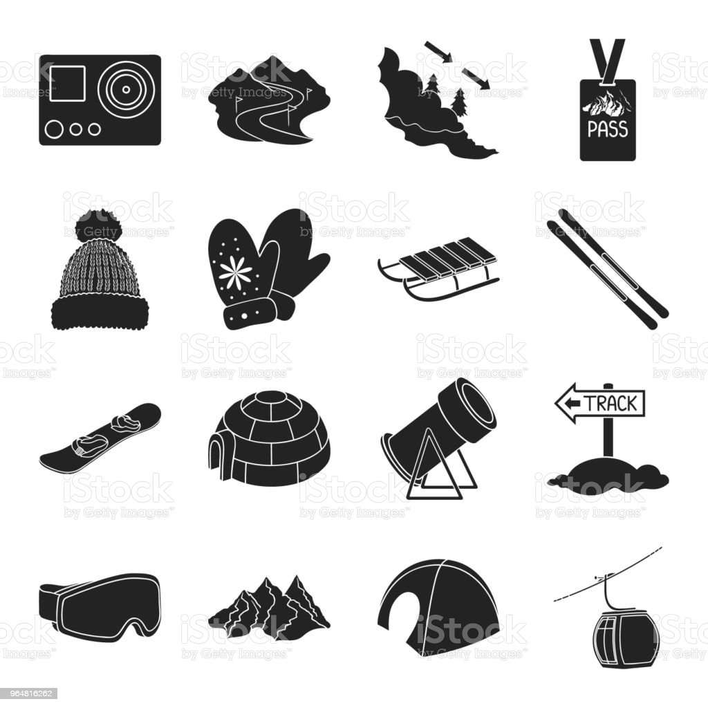 Ski resort and equipment black icons in set collection for design. Entertainment and recreation vector symbol stock web illustration. royalty-free ski resort and equipment black icons in set collection for design entertainment and recreation vector symbol stock web illustration stock vector art & more images of avalanche