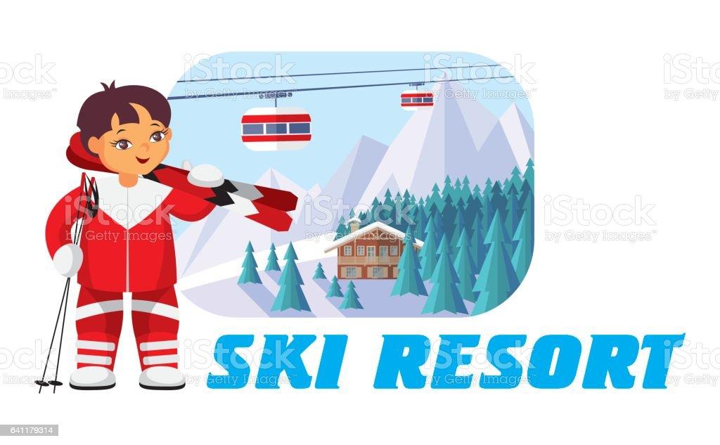 ski resort badge vector art illustration