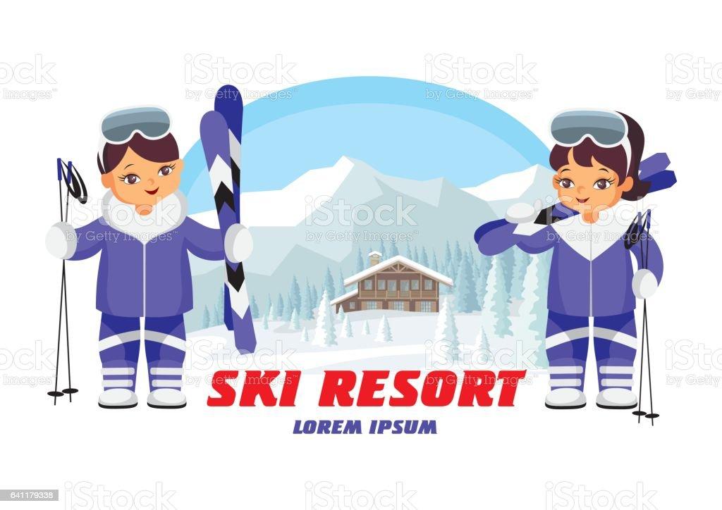 ski resort emblem vector art illustration