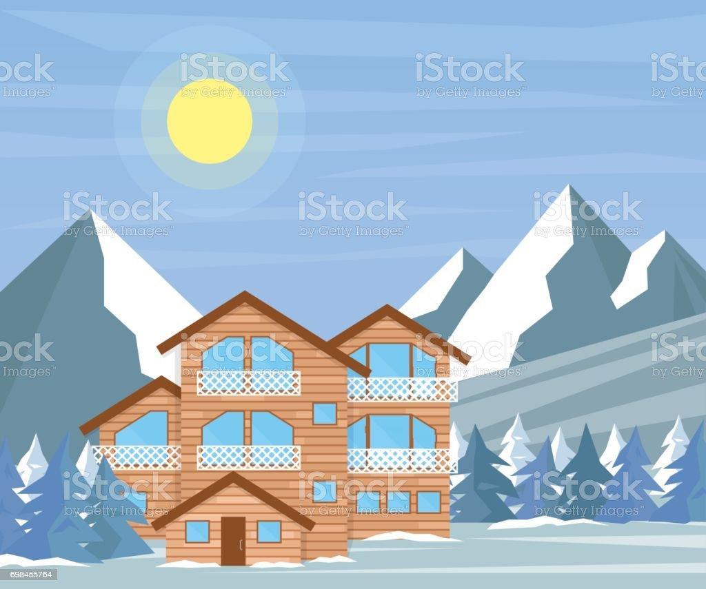 Ski Resort Ev Veya Otel Dağlar Ve çam Ormanı Ile Karlı Manzara