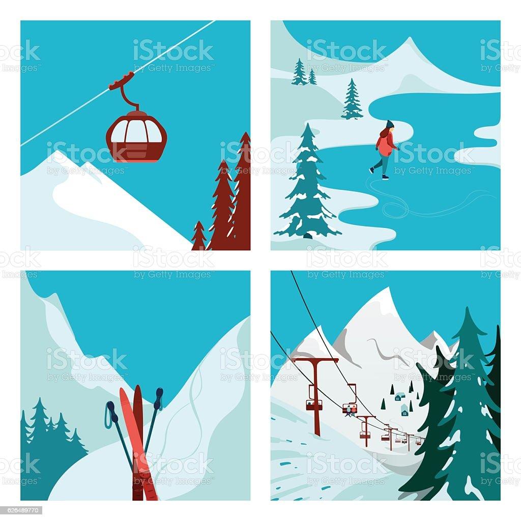 Ski Resort in the mountains. vector art illustration