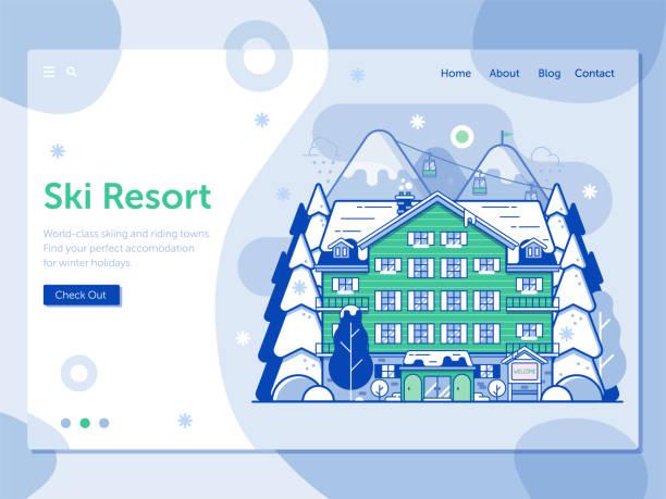 illustrazioni stock, clip art, cartoni animati e icone di tendenza di ski resort landing page in line art design - negozio sci