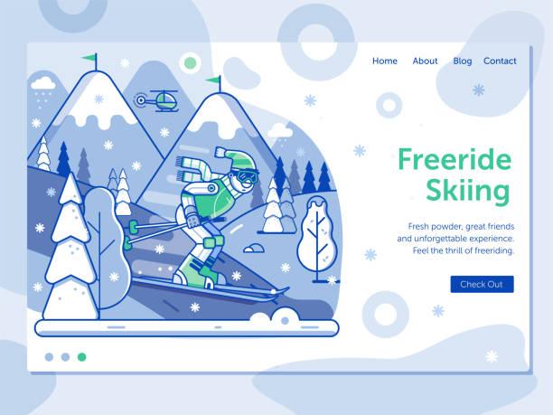 illustrazioni stock, clip art, cartoni animati e icone di tendenza di ski resort landing page with freeride skier - negozio sci