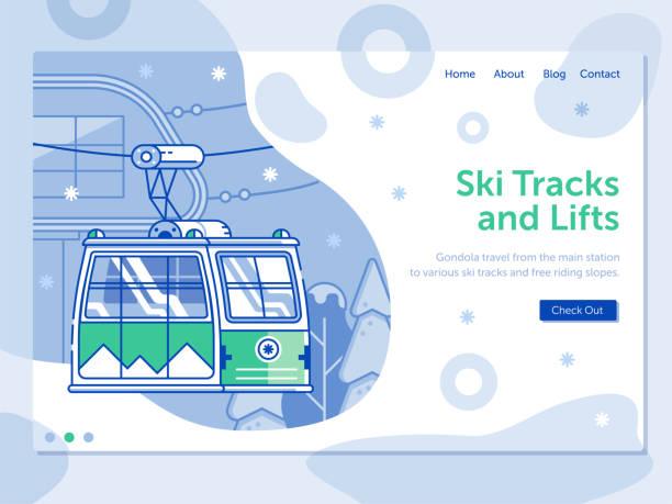 illustrazioni stock, clip art, cartoni animati e icone di tendenza di ski resort landing page with funicular - negozio sci