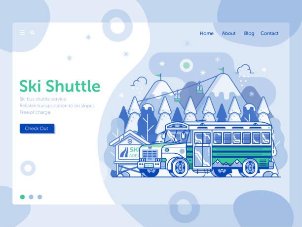 illustrazioni stock, clip art, cartoni animati e icone di tendenza di ski resort landing page with shuttle bus - negozio sci