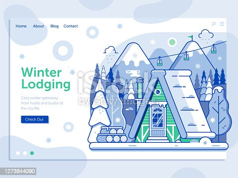 istock Ski Resort Landing Page with Winter Cabin 1273844090