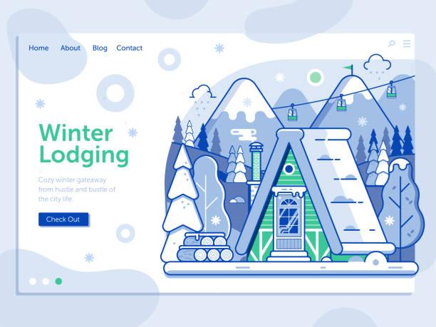 illustrazioni stock, clip art, cartoni animati e icone di tendenza di ski resort landing page with winter cabin - negozio sci