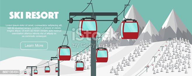 Ski resort, lift flat vector illustration. Alps, fir trees, mountains wide panoramic background. Aerial ropeways, hills, winter web banner design.