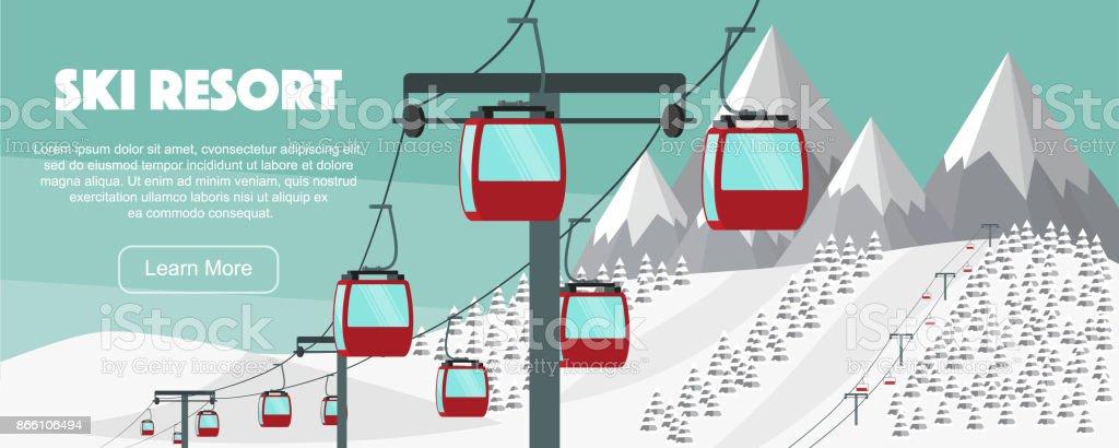 Ski resort, lift flat vector illustration. Alps, fir trees, mountains wide panoramic background. Aerial ropeways, hills, winter web banner design. vector art illustration