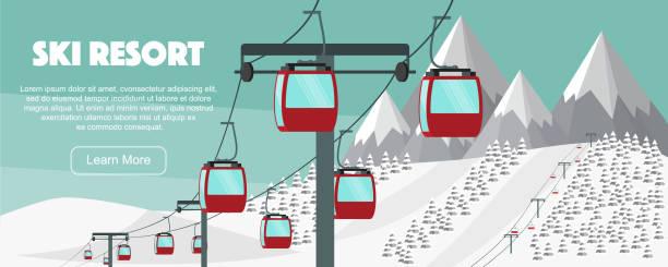 illustrazioni stock, clip art, cartoni animati e icone di tendenza di ski resort, lift flat vector illustration. alps, fir trees, mountains wide panoramic background. aerial ropeways, hills, winter web banner design. - ski