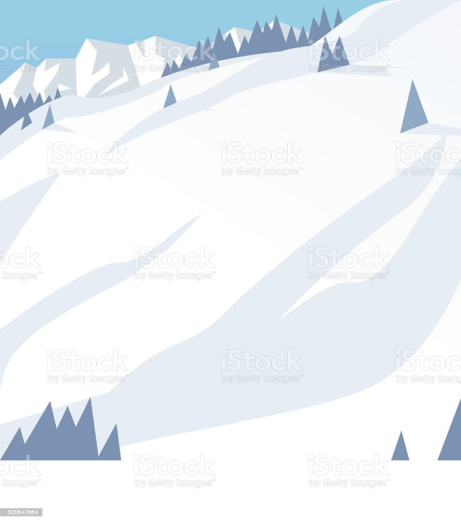 Ski resort mountains, tracks, building winter season landscape vector illustration vector art illustration
