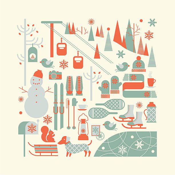 bildbanksillustrationer, clip art samt tecknat material och ikoner med ski resort silhouettes - hund skog