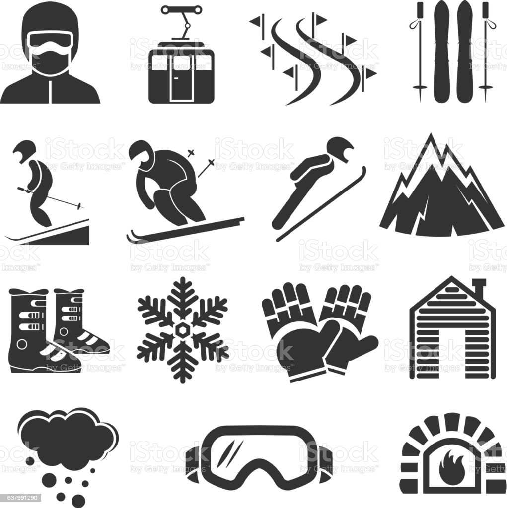 Ski resort sports icons. Winter snow skiing sport signs. Extreme...