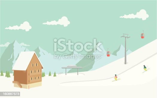 A hand drawn illustration of a ski resort and luxury chalet in the mountains. Each element on the illustration is on a separate layer and can be easily edited. This is a vector illustration with CMYK color space.